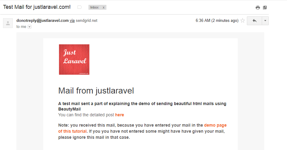 HTML mail using Beautymail in laravel - justlaravel.com