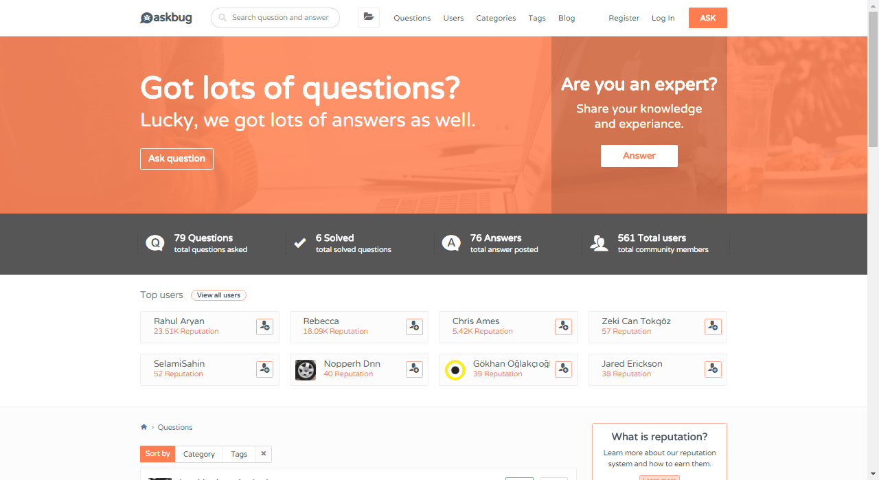 AskBug – Question and answer WordPress theme