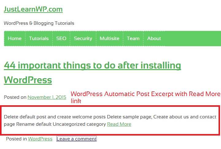 WordPress Automatic Excerpt Length tutorial