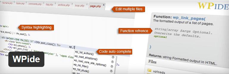 WPide-WordPress Theme Code Editor Plugin