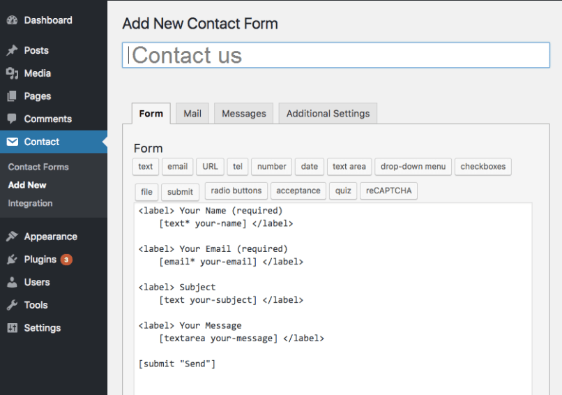 Add contact form 7 short code to the page