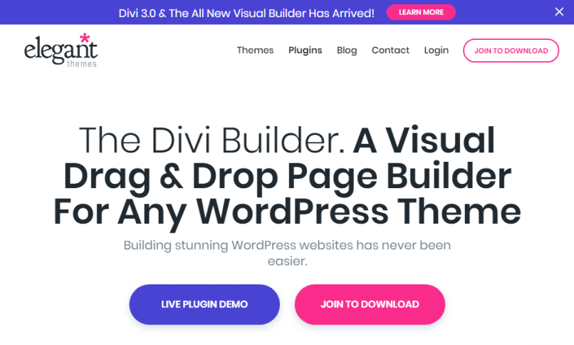 The Divi Builder Drag & Drop Page Builder Plugin For WordPress.
