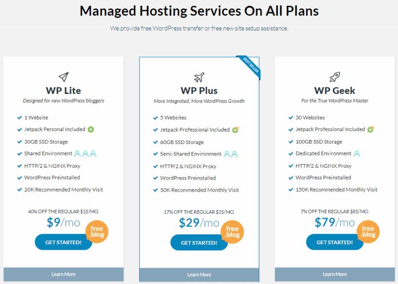 WPWebHost WordPress hosting plans & pricing