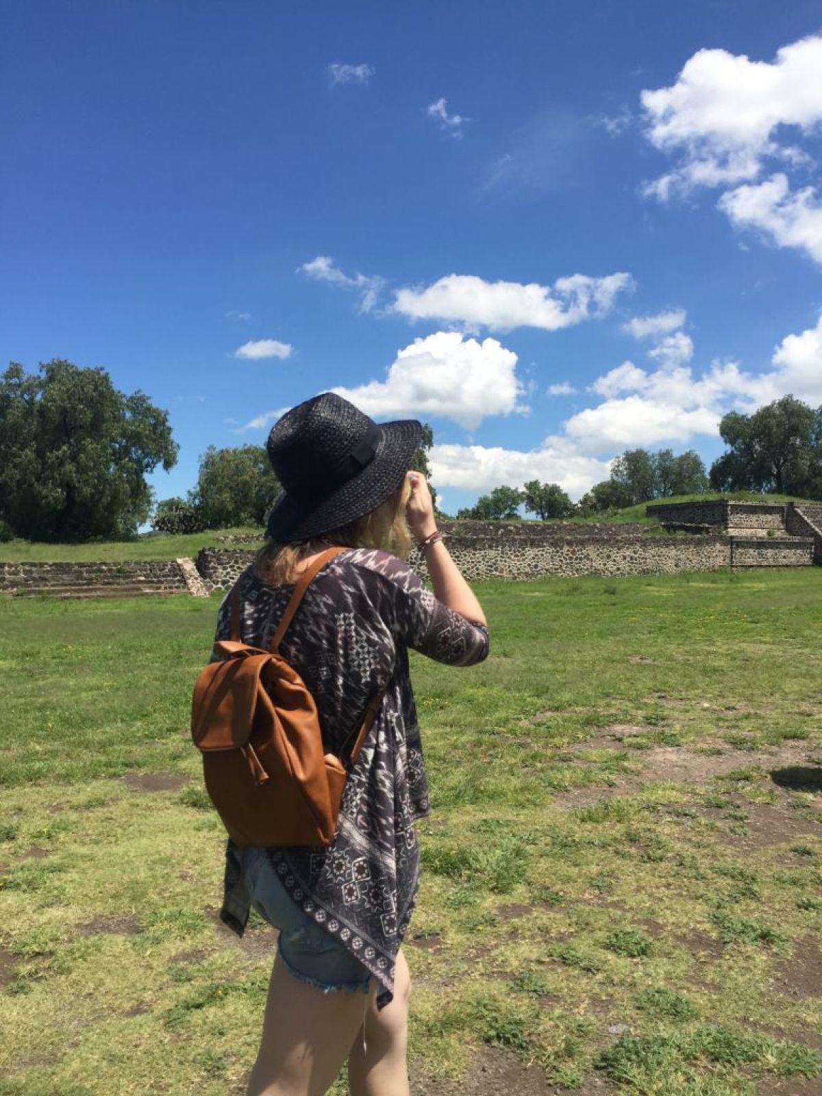 Girl walking in Teotihuacán