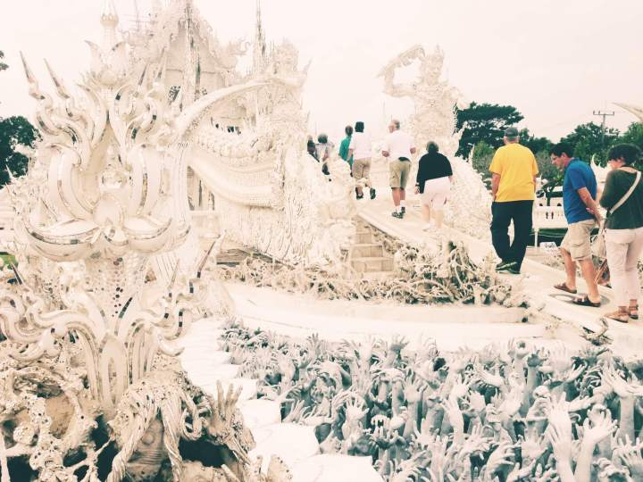 Tourists Walking up the ramp at the White Temple in Chiang Rai