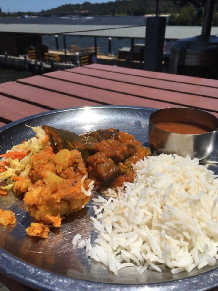 Vegetarian Meal at a picnic table