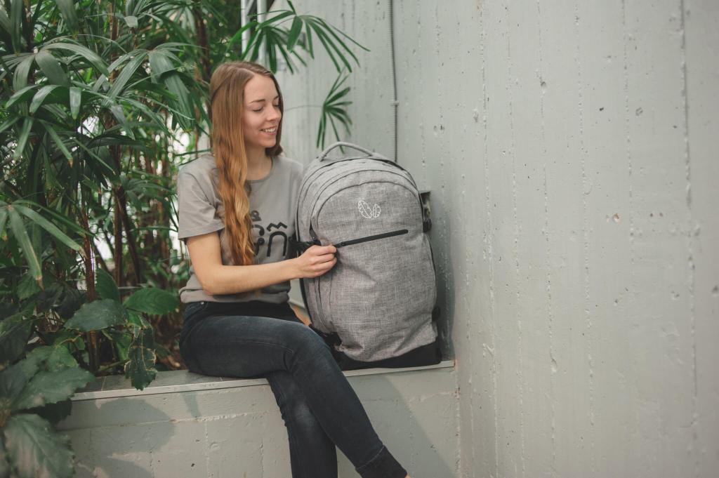 Girl with Backpack and Organic Cotton Shirt