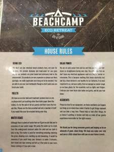 Beachcamp House Rules Australia Accomodations