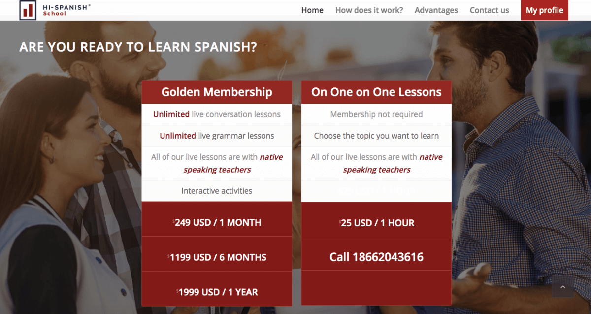 Online Spanish Classes | Hi-Spanish Pricing