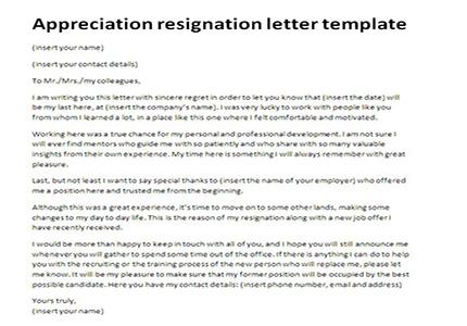 Resignation Letter ...