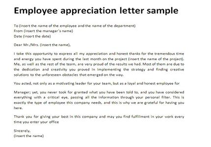 Sample Employee Recognition Letter  Docoments Ojazlink