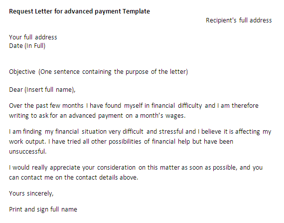 Request Letter for advanced payment  Request Letter Samples