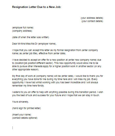 Resignation Letter Due To A New Job Sample Just Letter