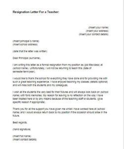 Resignation Letter For A Teacher Sample Just Letter