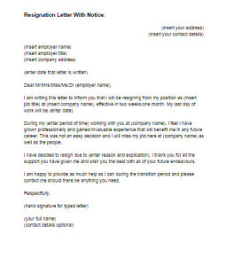 Resignation Letter With Notice Sample  Just Letter Templates