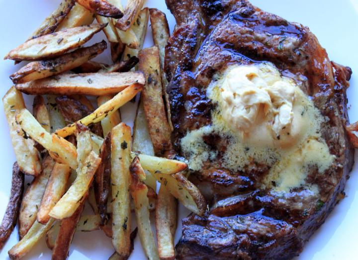 Rib-eye with Mustard Butter and Herb Fries