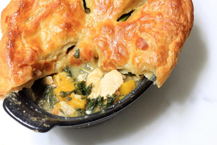 squash, kale & chicken pot pie