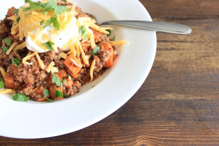 beef, sweet potato quinoa chili