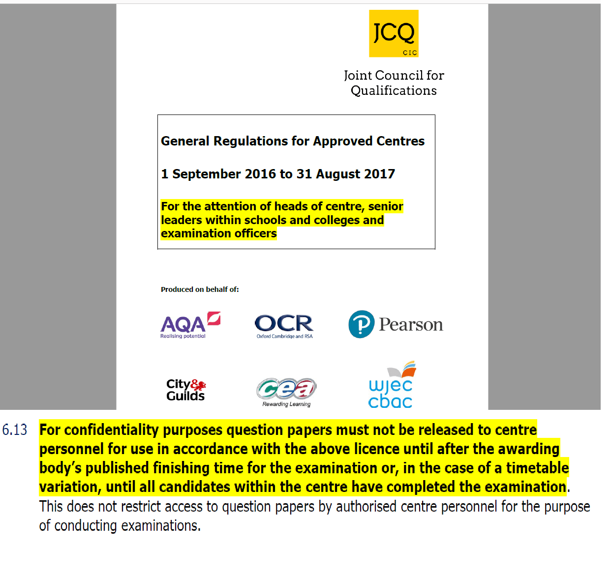 jcq instructions for conducting examinations