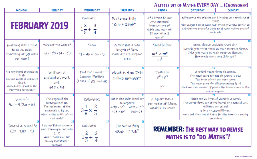 A little bit every day – February 2019 | - JustMaths