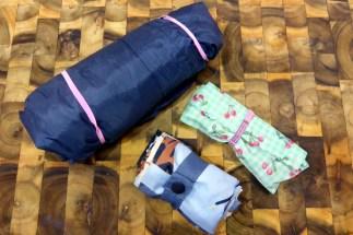 Raincoat, shopping bag and Regal Wraps