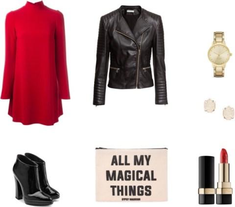 Combina un vestido con cuello perkins rojo con accesorios negros y dorados para empezar el año con fuerza. ¡Ah, no olvides un clutch con mensaje!