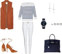 Unos colores que a simple vista no encajarían: azul marino y camel? Pues sí. Un outfit blanco (para invierno también!) con chaleco largo y taconazo. Los accesorios en plata completarán el conjunto.