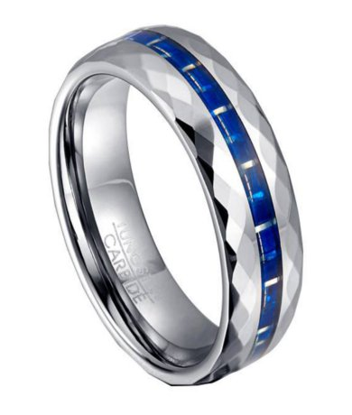 Tungsten  Blue Carbon Fiber Ring for Men with Faceted
