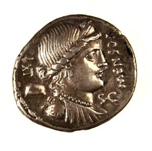 Roman Republic, minter L. Farsuleius Mensor, silver denarius, 75 BCE. Obverse.