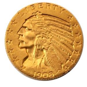 USA. Gold Coin. Obverse 5-dollar Philadelphia-1908