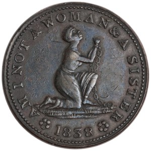 USA. Obverse of Copper cent of-American Anti-Slavery Society-Obverse-Belleville. 1838.