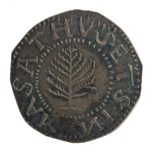 USA. Silver shilling, obverse. Boston (Mass.), 1652