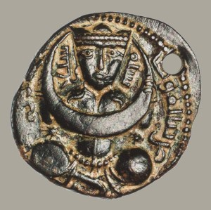 Islamic Seljuk. Copper Dirham of Nasr al-Din Mahmud: Representation of the Moon as a Seated Figure Holding a Crescent Moon 1229-1230 AD