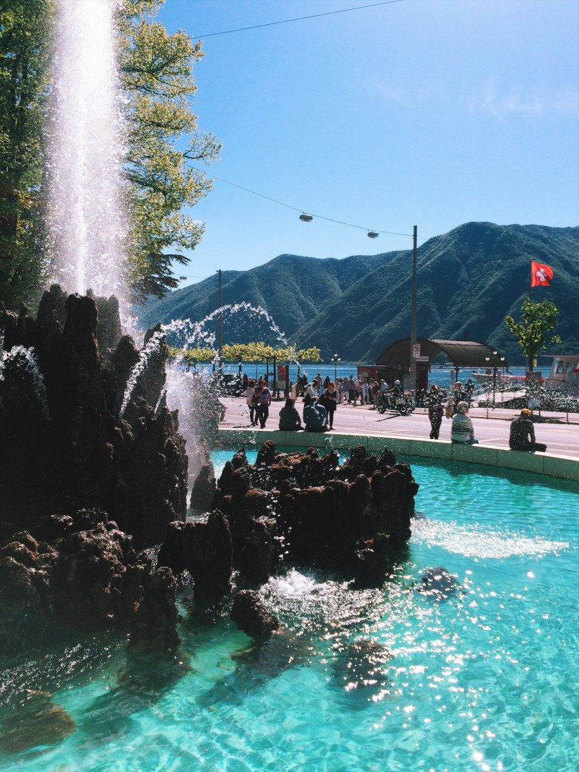 Fountain in city center of Lugano, Switzerland