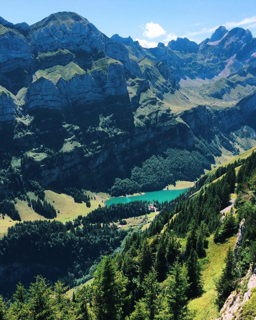 View of Seealpsee from the top of Ebenalp