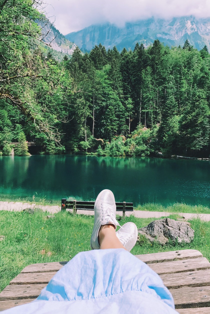 Relaxing at Blausee, Switzerland