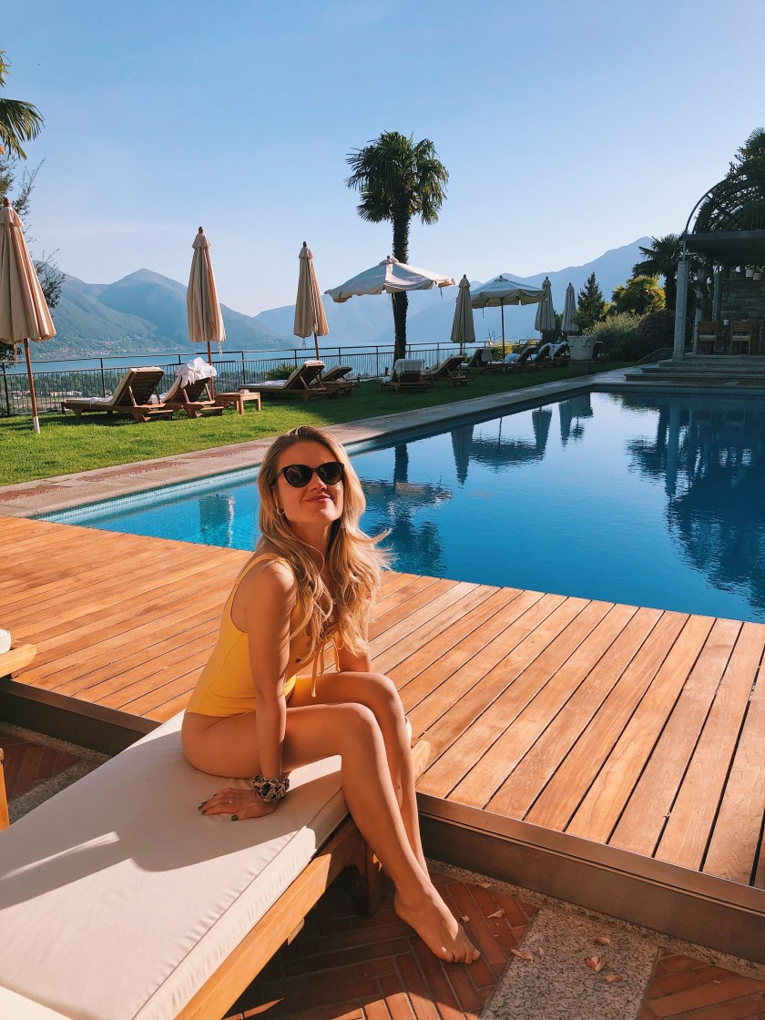 Relaxing by the pool at Villa Orselina in Locarno
