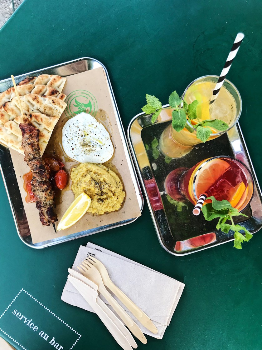 Local drinks and food at a cafe in Bern, Switzerland