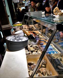 Spanish food. Delicious appetizers / tapas at Mercado de San Miguel in Madrid, Spain.