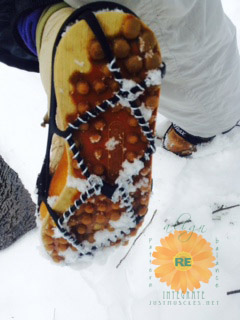 Image of how Yaktrax snowcleats look on boots