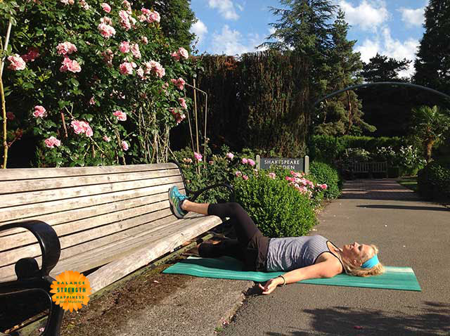 Image of personal trainer Laura Coleman in supine groin position