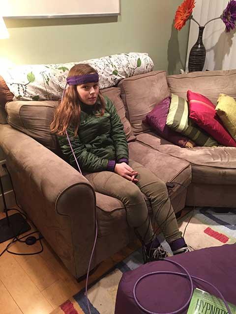 Image of biofeedback set up with teenager