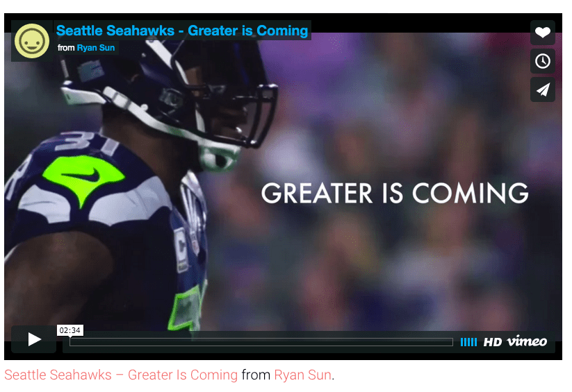 screenshot of Seattle Seahawks video