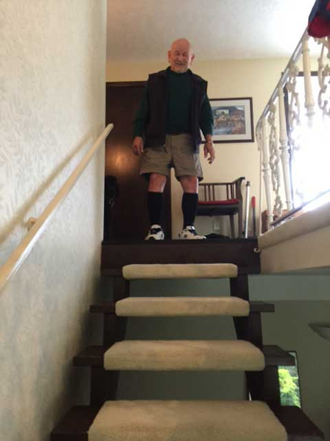 Image of Laura Coleman's client Vic at top of stairs