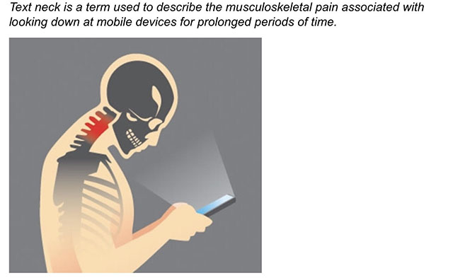 image of illustration of head bent forward while using mobile devices, image courtesy of forwardheadposturefix.com