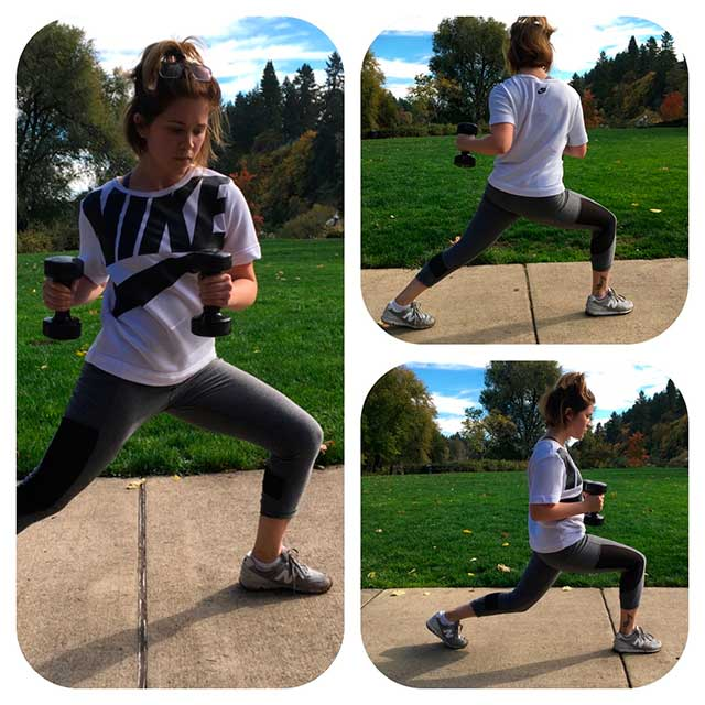 image of woman doing walking lunges with a twist with weights