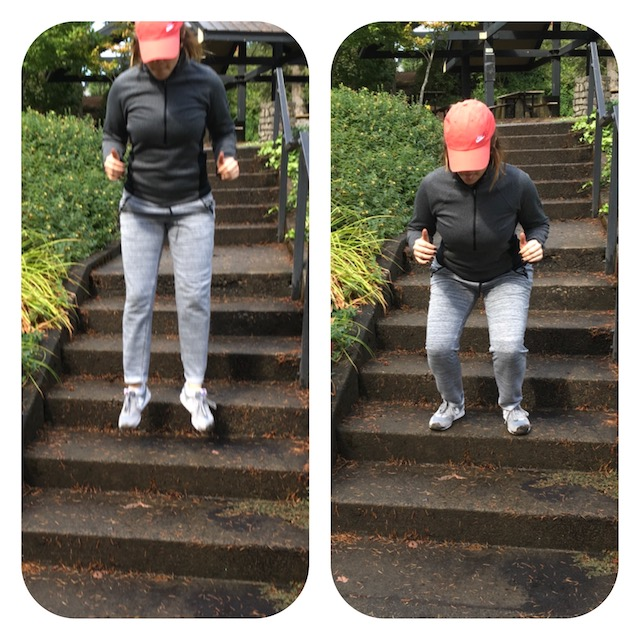 image of woman doing frog hop exercise down stairs