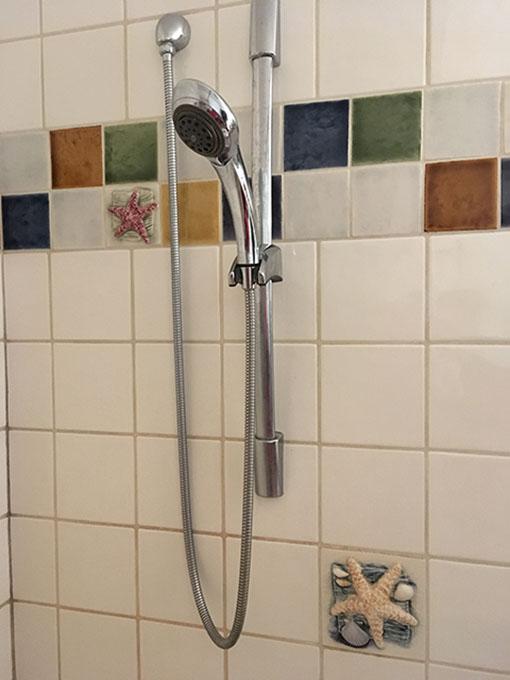 Image of a tiled shower