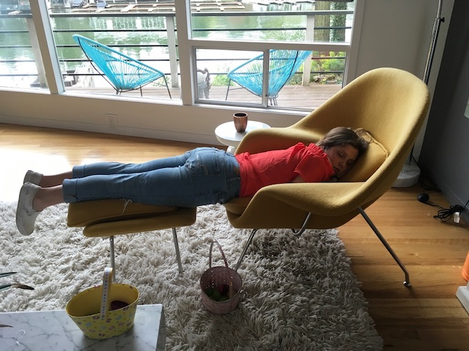 image of girl sleeping on a chair