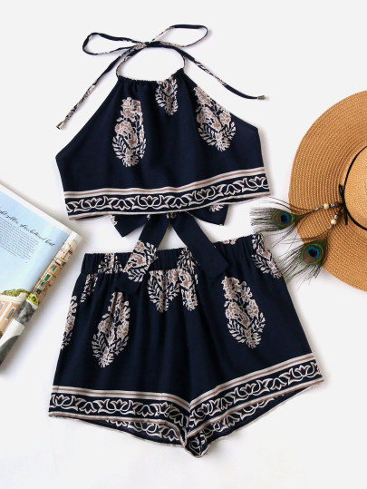SHEIN Tie Back Halter Top And Shorts Co-Ord